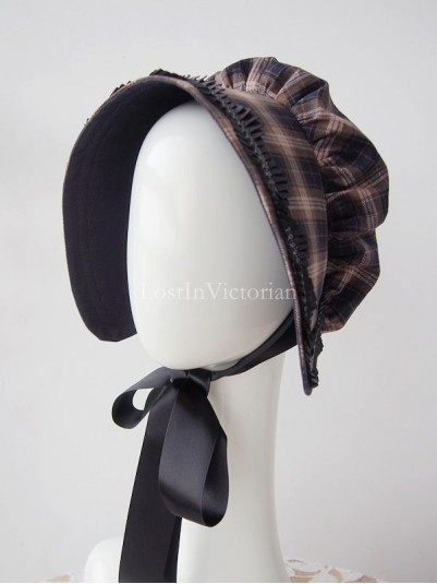 Ladies Victorian Era Plaid Bonnet