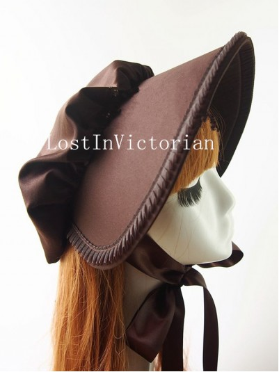 Ladies Deep Coffee Cotton Victorian Era Bonnet