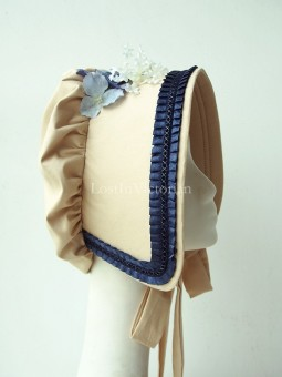 Ladies Victorian Era Bonnet Trimmed with Loyal Blue Ruffles
