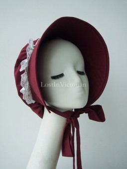 19th Century Victorian Burgundy Bonnet
