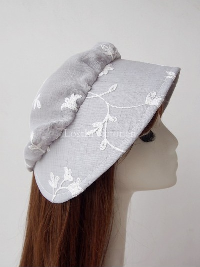 Vintage Embroidery Grey Bonnet Hat