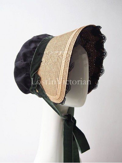 19th Century Victorian Era Straw Bonnet Trimmed with Black Lace