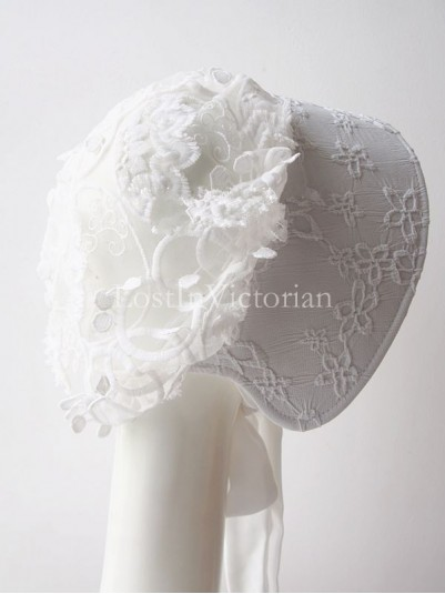 Vintage 19th Century Victorian Era White Embroidery Flower Bonnet