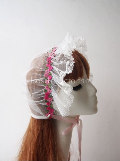 Handmade White Embroidery Lace Bonnet Trimmed with Flowers