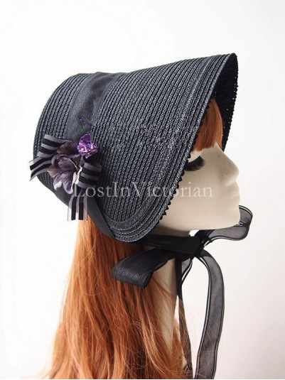Vintage Black Straw Victorian Mourning Bonnet with Flower