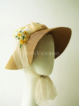 Retro 19th Century Victorian Straw Bonnet with Flower
