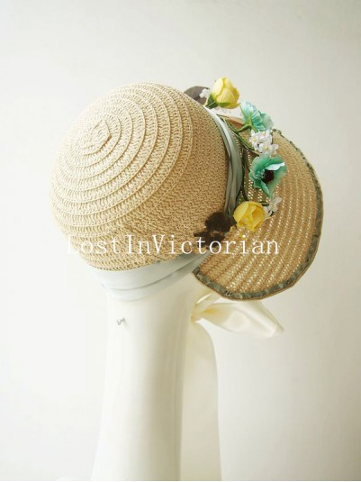 Retro Rural Style Victorian Straw Bonnet with Flower