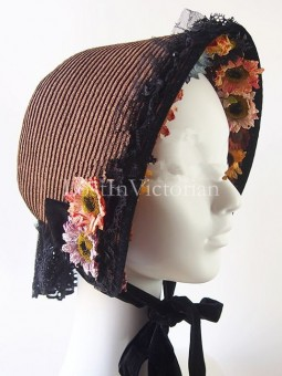 19th Century Victorian Era Straw Bonnet Trimmed with Black Lace and Flower