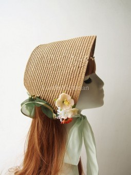 19th Century Victorian Straw Bonnet with Flowers