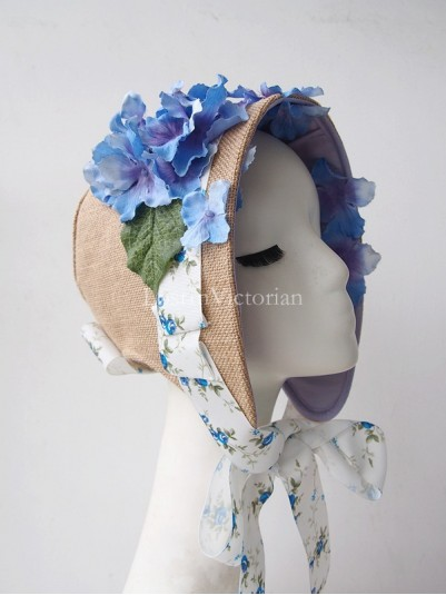 Victorian Linen Bonnet Trimmed with Flower Ribbon