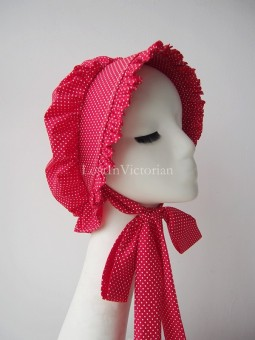 Victorian Polka Dot Cotton Bonnet