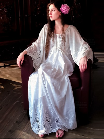 Delicate Embroidered Lace Bridal Robe Vintage Chemise Dress WHITE